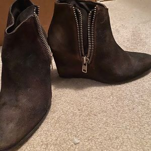 Free People distressed brown suede leather bootie